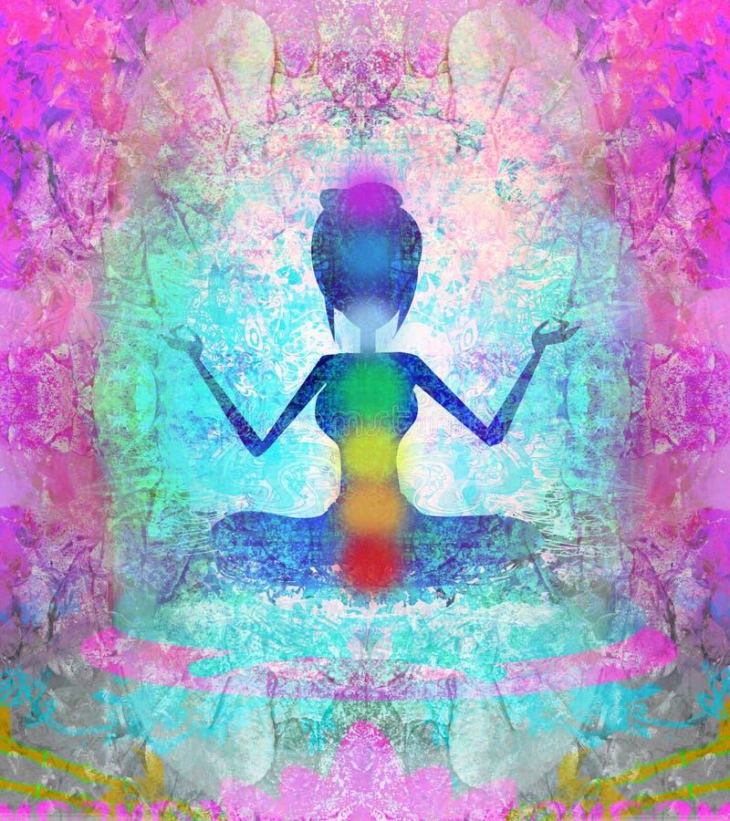 Yoga lotus pose. Padmasana with colored chakra points. Yoga lotus pose. Padmasana with colored chakra points, raster illustration stock illustration