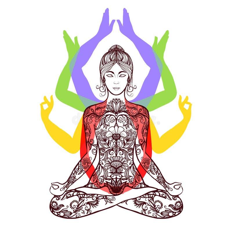 Yoga méditant dans l'icône d'asana de lotus illustration stock