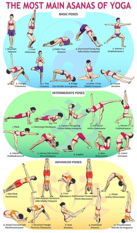 30 Yoga Main Asans stock illustration