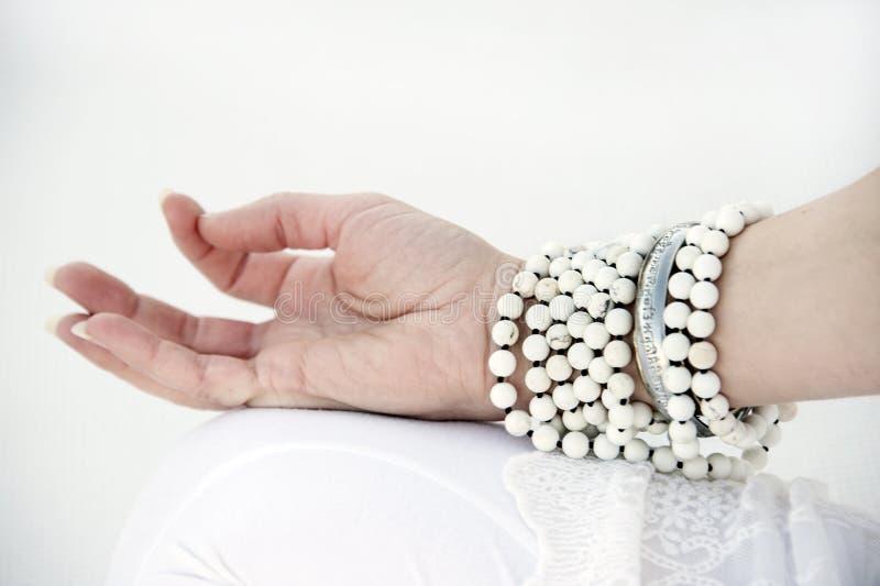 Yoga Mala White Background stock photo