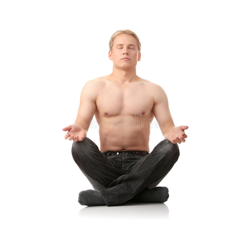 Download Yoga male stock image. Image of legged, prayer, meditating - 12140685
