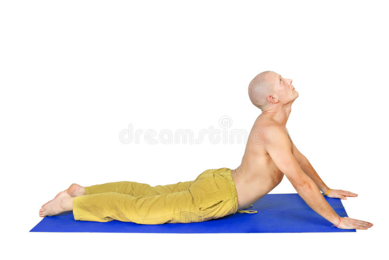 Yoga. Man in  bhujanga asana position