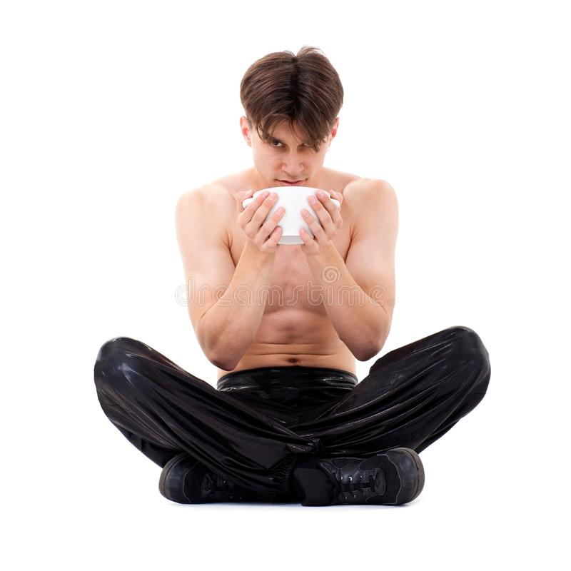 Download Yoga man with cup stock image. Image of space, yoga, hand - 13090831