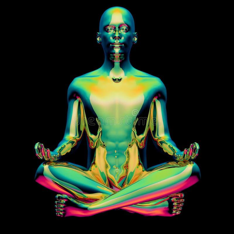 Yoga man lotus pose stylized figure green meditate symbol vector illustration
