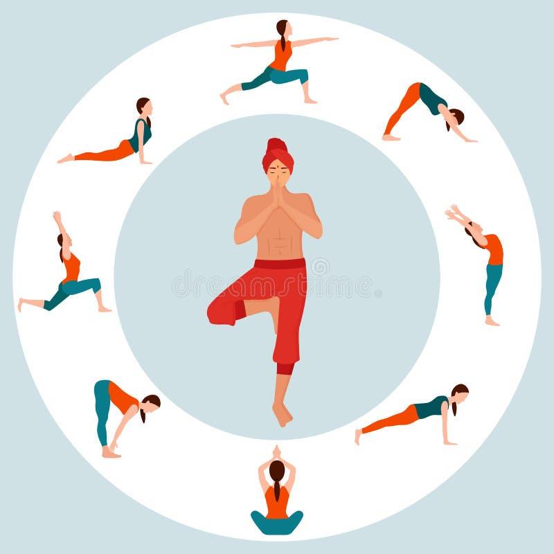 Yoga Man and Poses of Woman Asana Tranquillité illustration de vecteur
