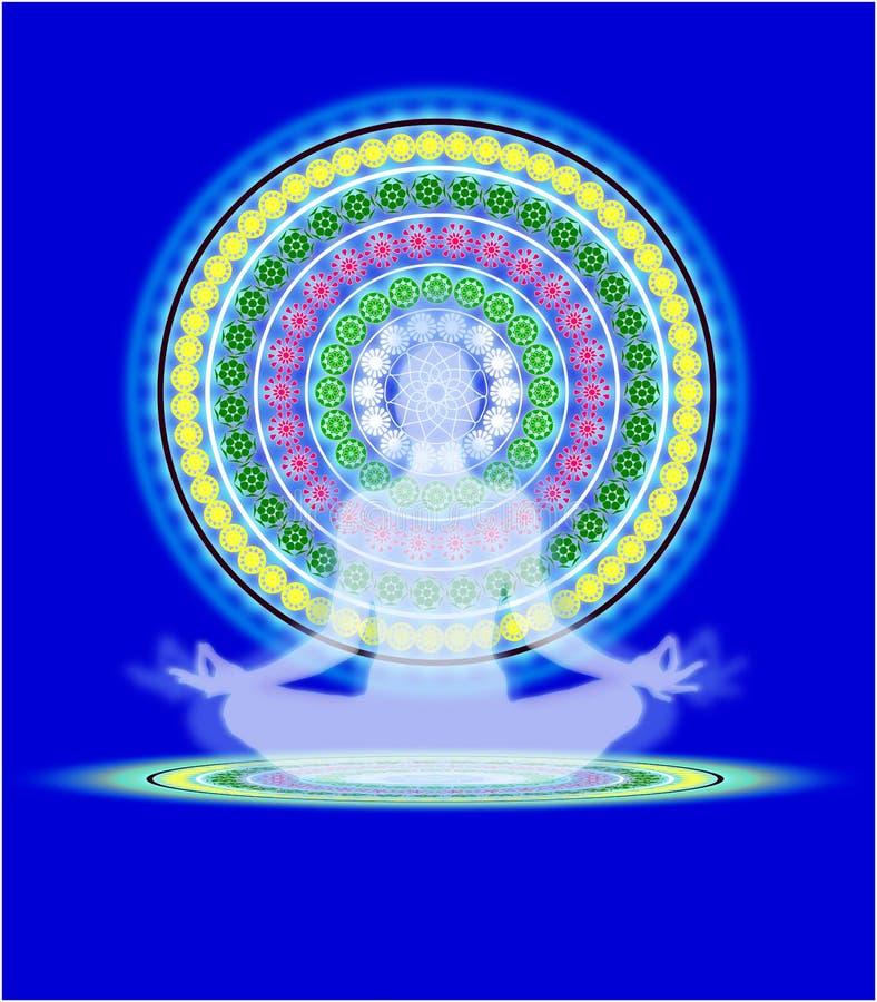 Yoga mandala. Human figure sitting in yoga position on a blue background with a mandala