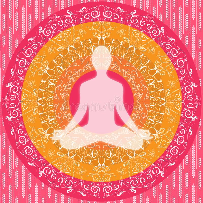 Yoga mandala sitting pose human silhouette pink white orange. Human figure sitting in yoga position with pink, orange and white mandala art in background vector illustration