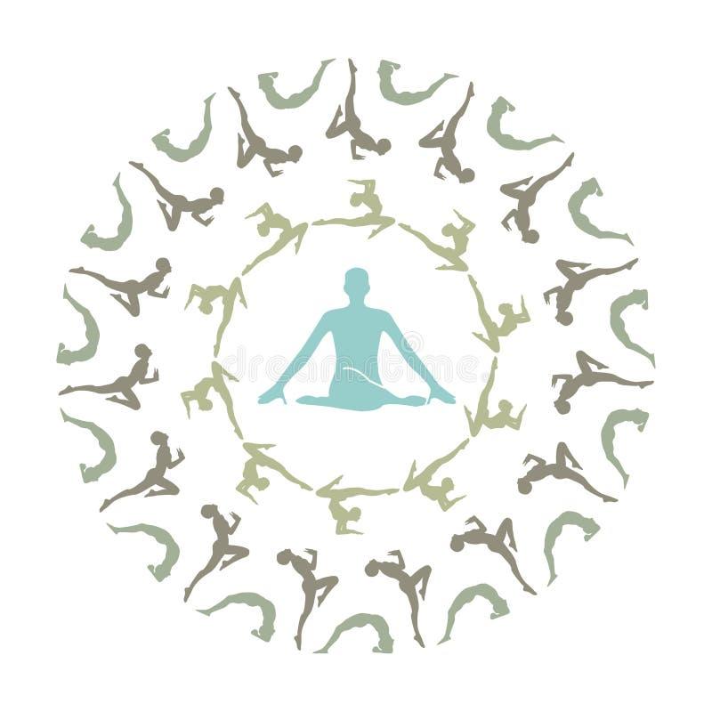 Yoga Mandala- Unique yoga silhouette mandala.  vector illustration