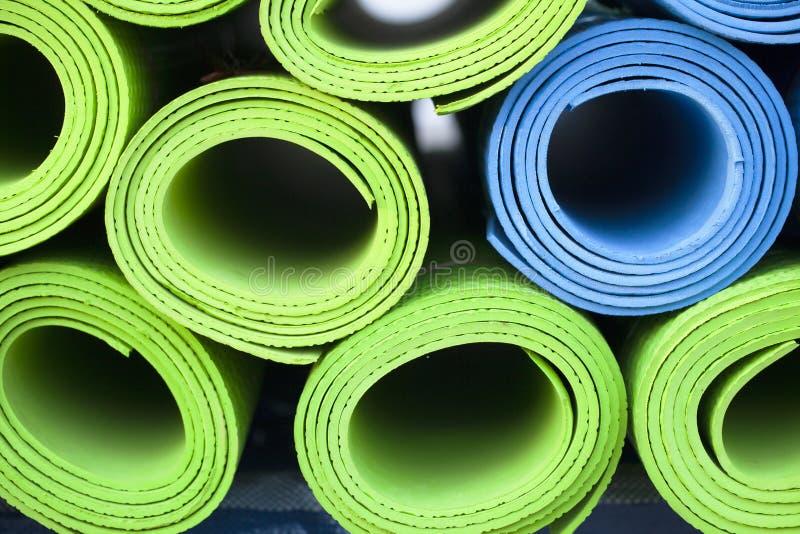 Yoga mats royalty free stock photo