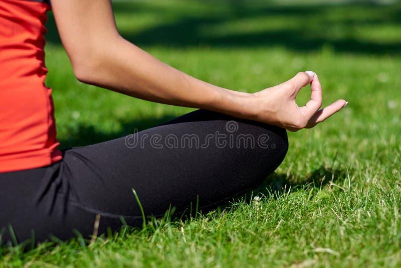 yoga Medita??o praticando da ioga da jovem mulher na natureza um parque Postura de Lotus Conceito do estilo de vida da sa?de fotos de stock