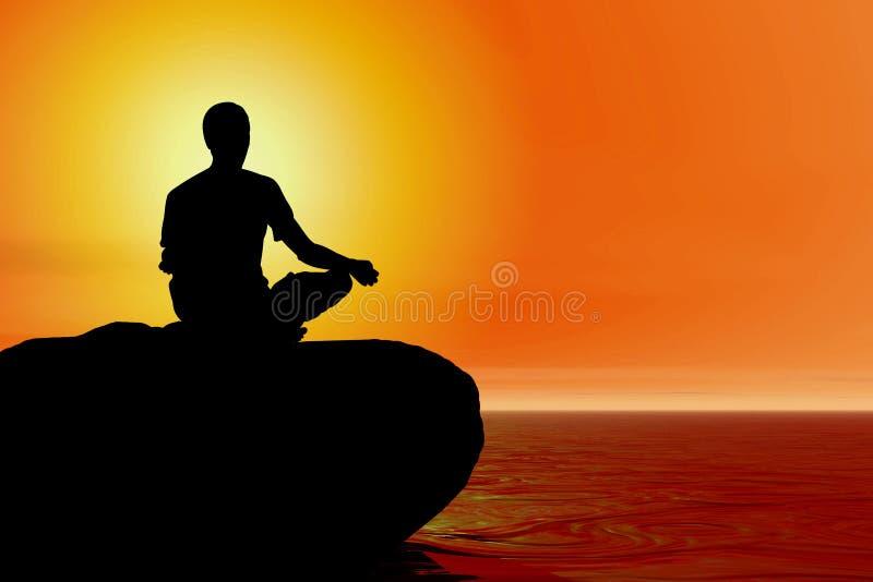 Yoga - meditación de la playa stock de ilustración