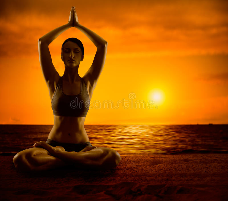 Yoga Meditate, Girl Meditation in Lotus Position, Woman Healthy Exercise royalty free stock images