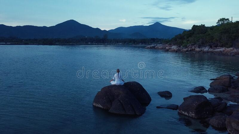 yoga and meditating in the nature royalty free stock photos