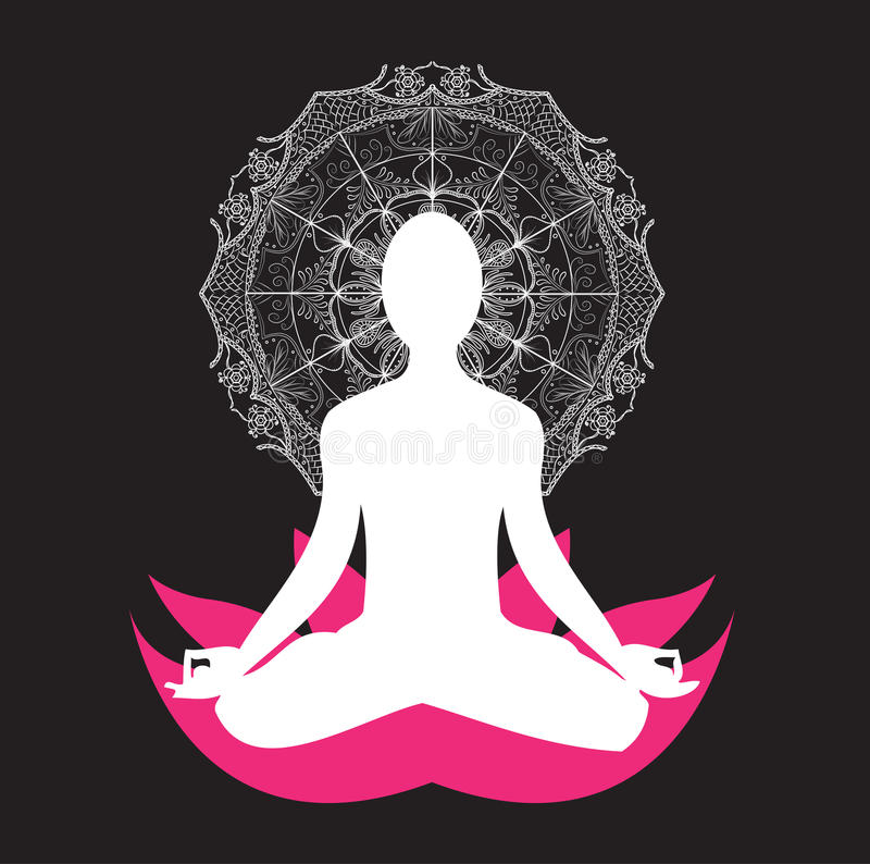 Yoga Meditation asana Mandala vector illustration