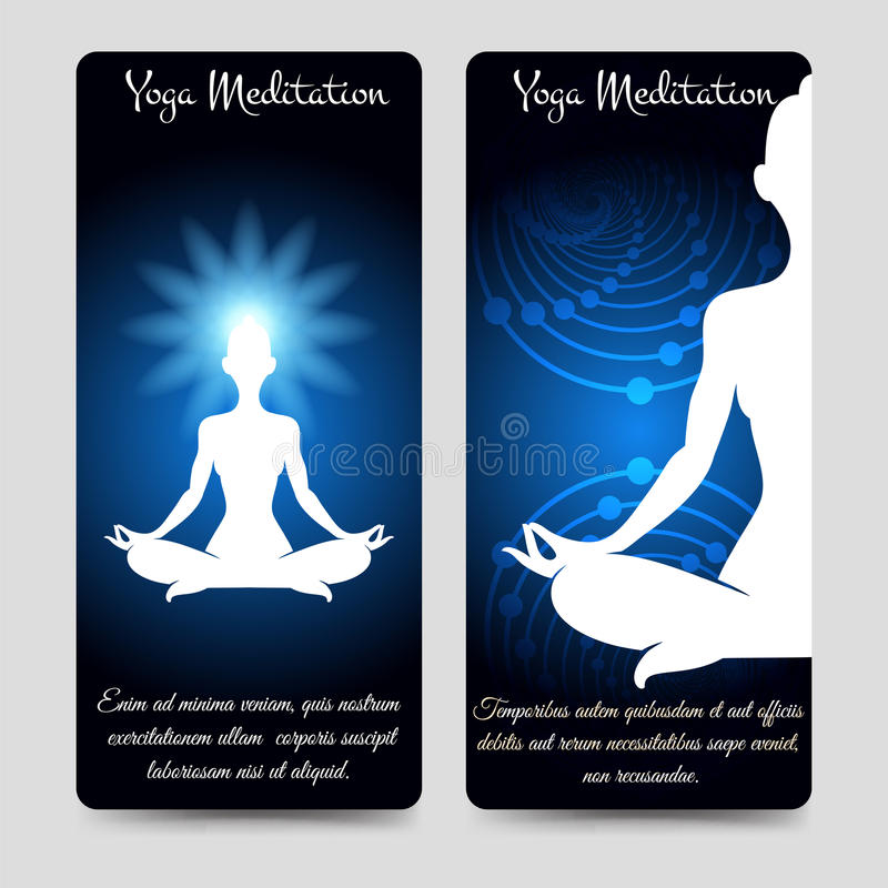 Yoga meditation brochure flyers template stock illustration
