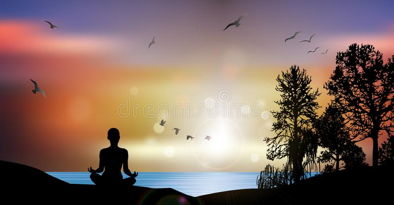 Yoga Meditation Fitness Healthy lifestyle Concept, Woman Silhouette Sunset royalty free illustration