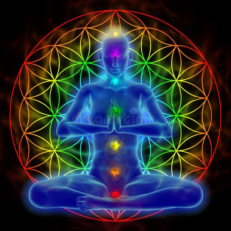 Yoga and meditation - flower of life royalty free illustration