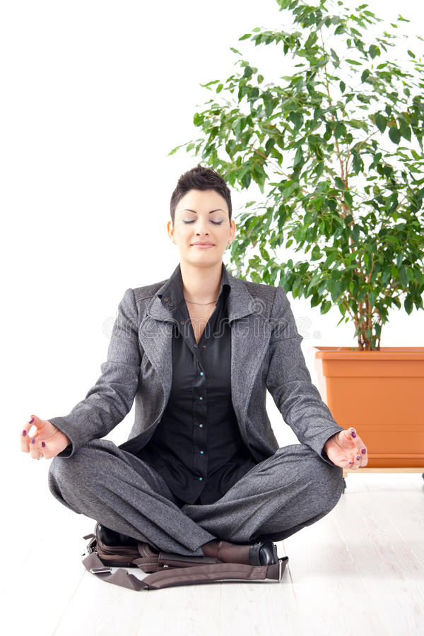 Download Yoga meditation at office stock image. Image of adult - 11063841