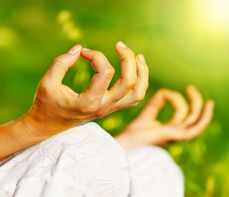 Yoga meditation outdoor royalty free stock photography