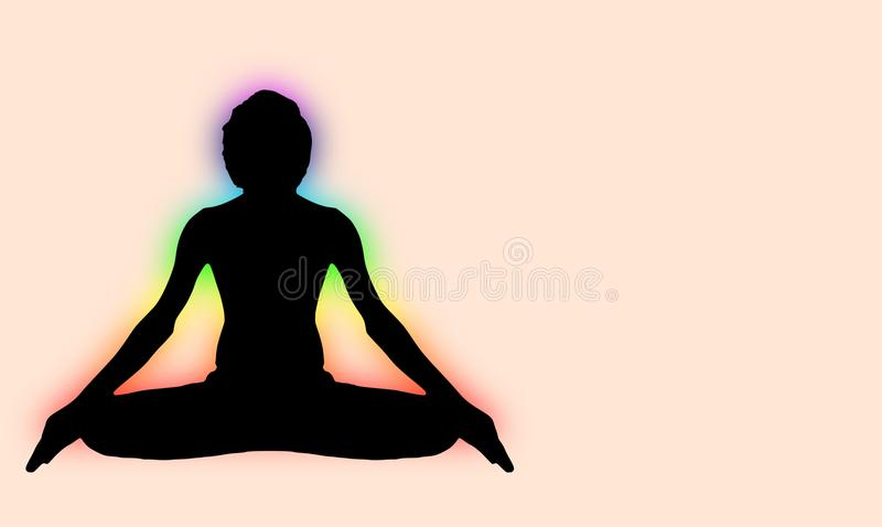 Yoga Meditation Pose with seven Energy Aura chakra around black body. Outline light isolated on pink with vector illustration
