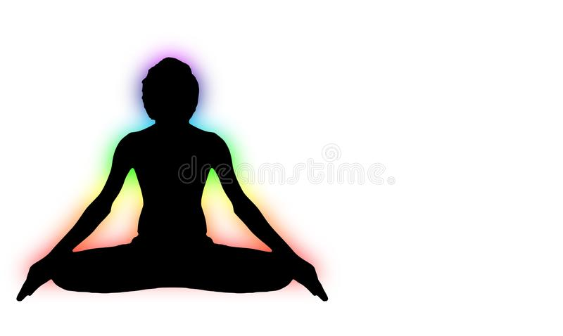 Yoga Meditation Pose with seven Energy Aura chakra around black body. Outline light isolated on white vector illustration