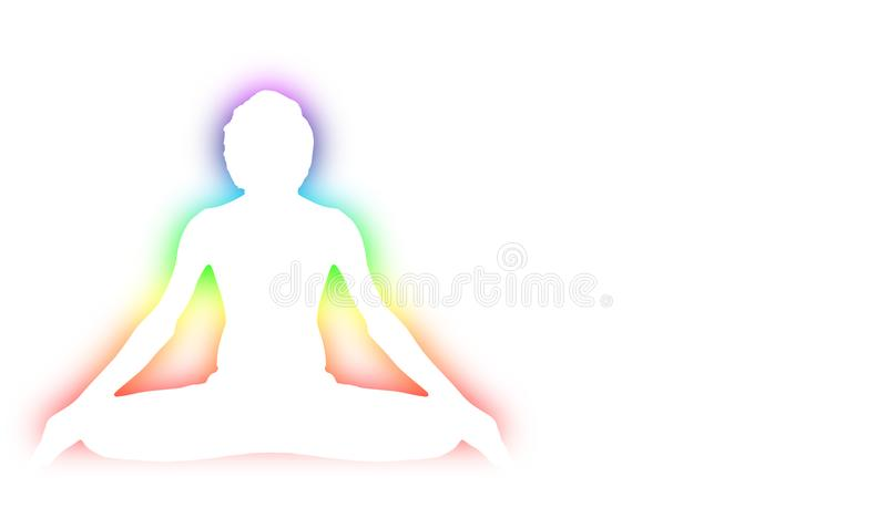 Yoga Meditation Pose with seven Energy Aura chakra around white body outline royalty free stock images