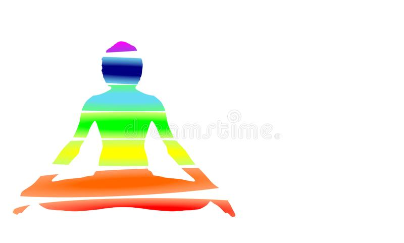 Yoga Meditation Pose with seven Energy Aura chakra isolated on white with gradient vector illustration. Colour space computer graphic web design vector illustration