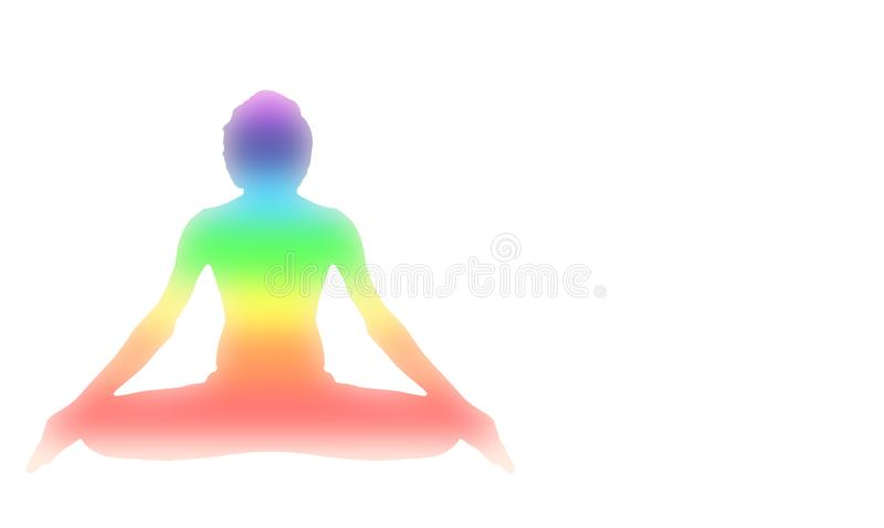 Yoga Meditation Pose with seven Energy Aura chakra isolated on white. With gradient illustration red orange yellow green blue purple deep indigo white color royalty free illustration
