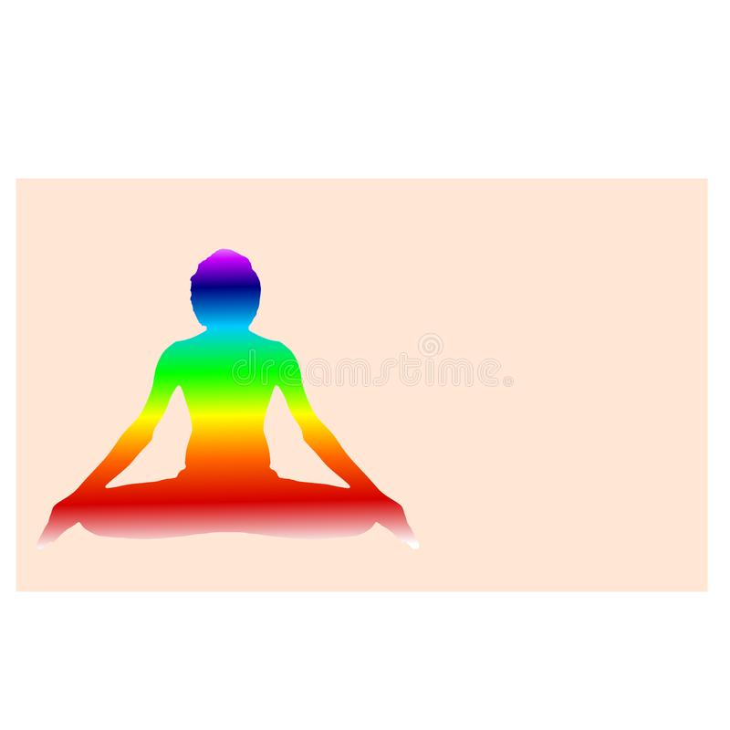 Yoga Meditation Pose with seven Energy Aura chakra on light red with gradient vector illustration. Space computer graphic web design stock illustration