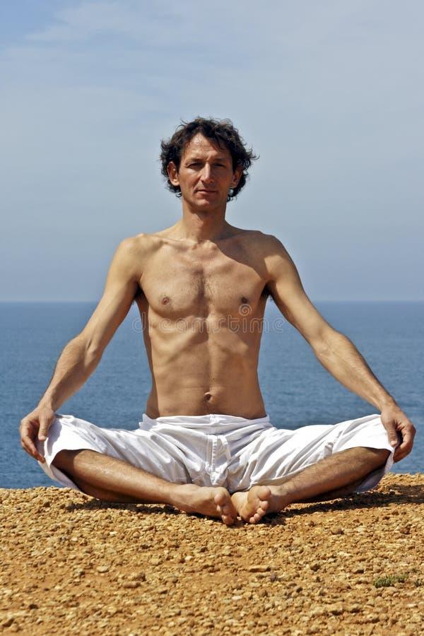 Yoga Meditation On The Rocks Stock Image