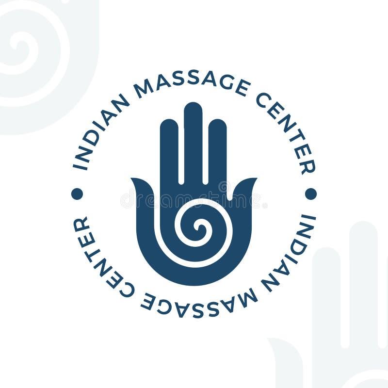 Yoga, meditation vector logo illustration. Decorative hamsa hand element. royalty free illustration