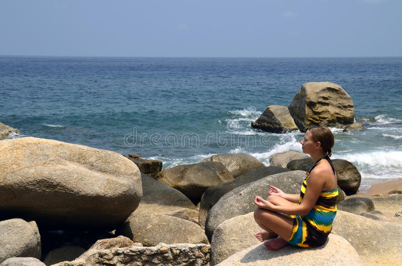 Download Yoga And Meditation With The Waves Royalty Free Stock Image - Image: 24712166