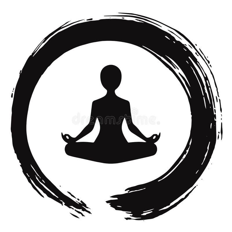Free Yoga Meditation With Zen Circle Logo Template Royalty Free Stock Photography - 96651807