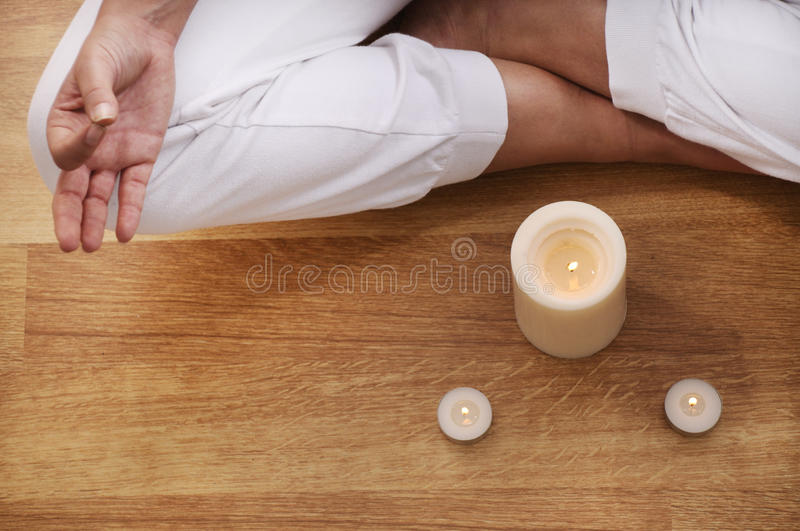 Yoga and meditation of young woman stock photo