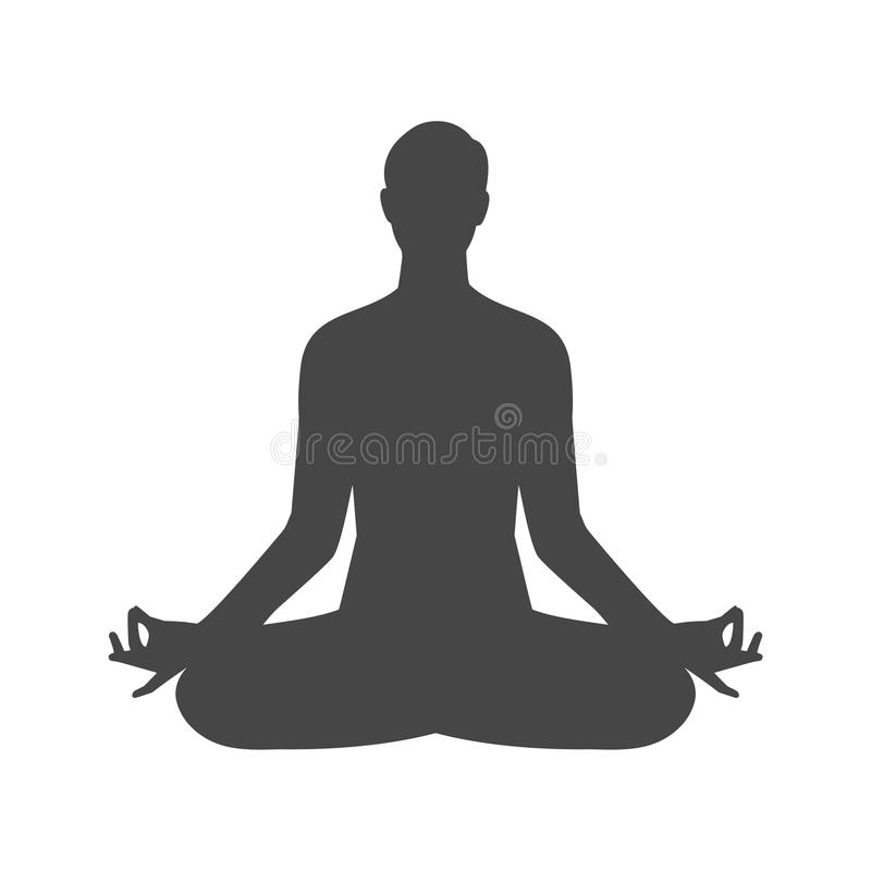Yoga meditation zen pose logo silhouette symbol icon. On white background vector illustration