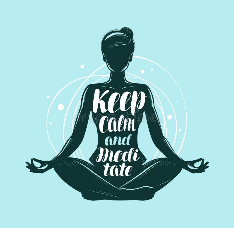Yoga meditationbegrepp Flickasammanträde i lotusblomma poserar Bokstävervektorillustration royaltyfri illustrationer