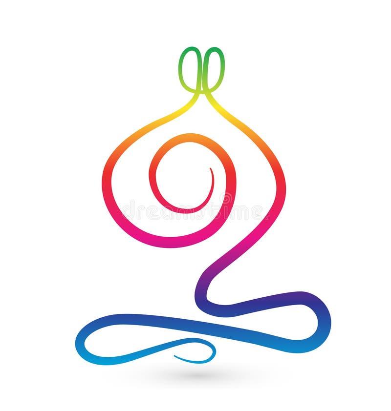 Yoga men stylized logo stock illustration