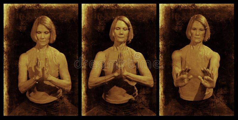 Yoga Mudra Triptychon stockfoto