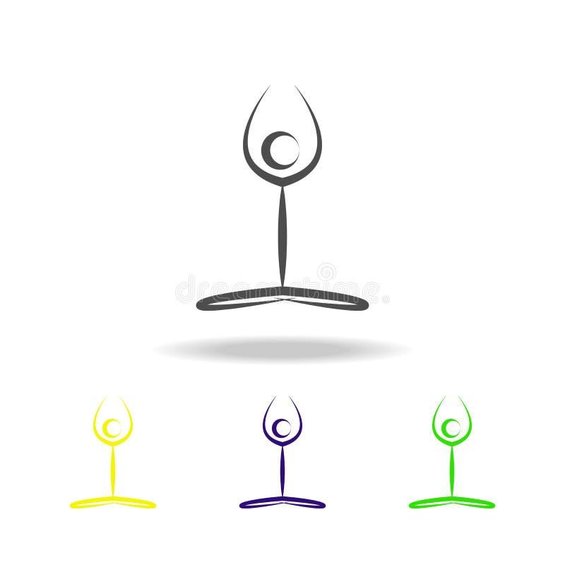 yoga multicolored pictogram Element van gezond het levens multicolored pictogram Tekens en symbolen het inzamelingspictogram kan  vector illustratie