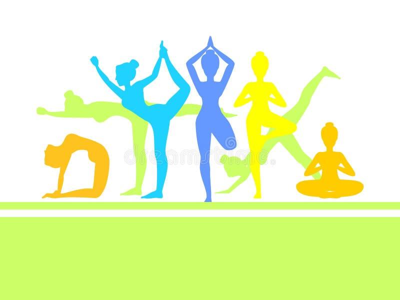 Yoga in natura Asanas Illustrazione di vettore royalty illustrazione gratis