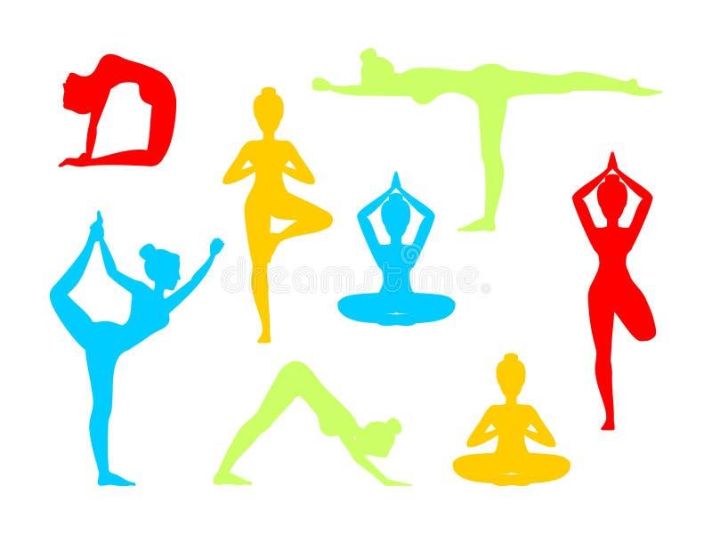 Yoga in natura Asanas Illustrazione di vettore Metta della siluetta isolata illustrazione di stock