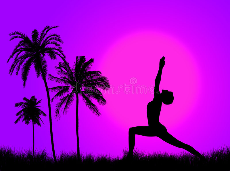 Yoga in the nature royalty free illustration