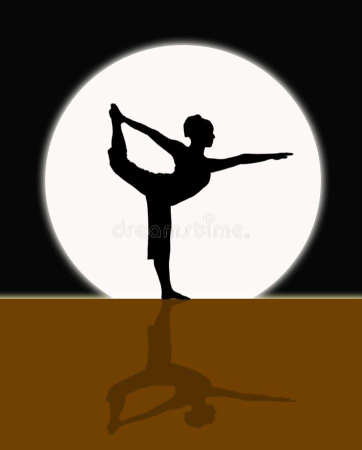 Yoga nella luce della luna illustrazione vettoriale
