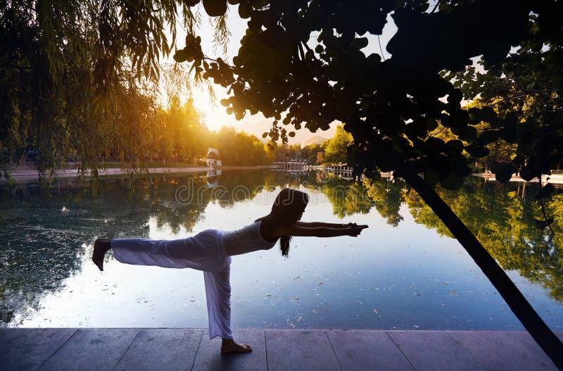 Yoga nella sosta immagini stock