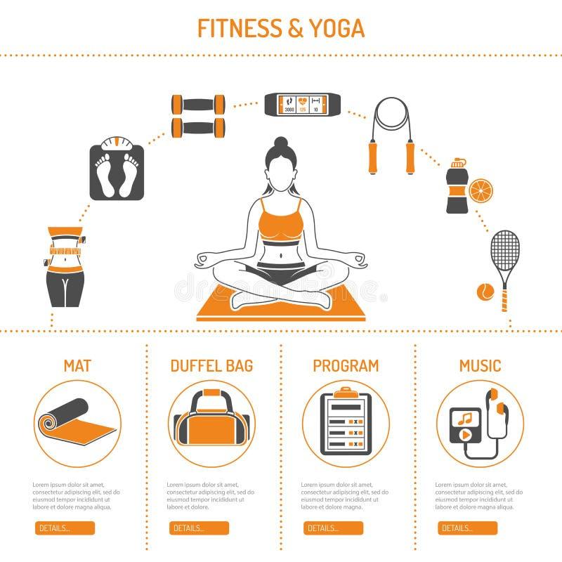 Yoga- och konditionbegrepp stock illustrationer