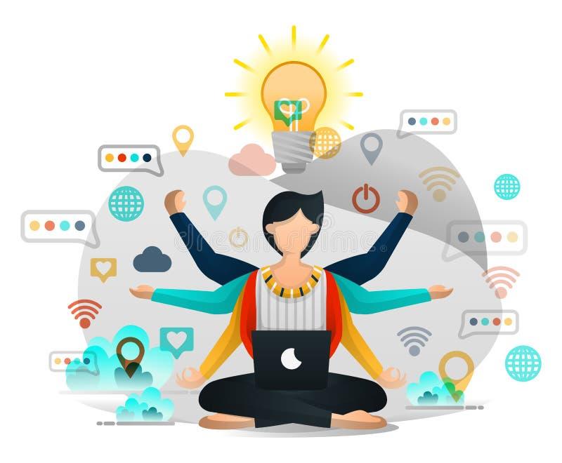 Yoga och meditation som finner inspiration i arbete Manlig programmerare Seeks Enlightenment, i att avsluta affärsprojekt Vektor  stock illustrationer