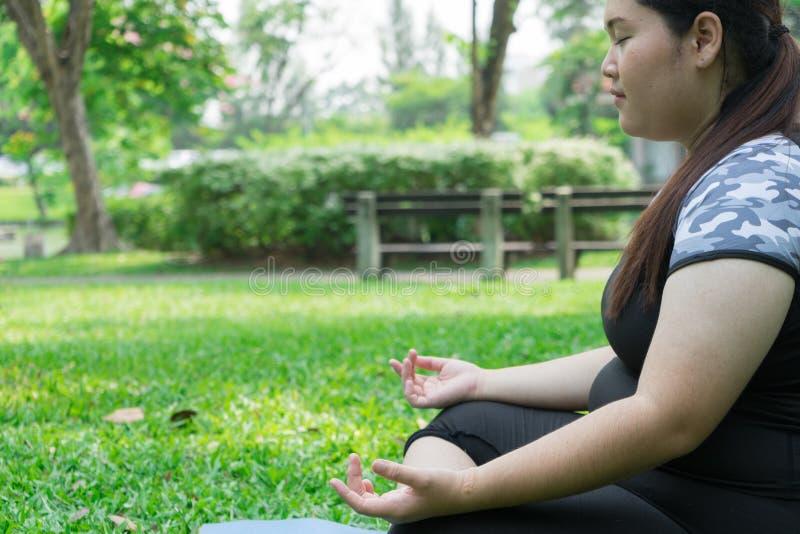 Yoga och meditationen för fet kvinna parkerar övande på grönt gräs i vård- begrepps- och kopieringsutrymme arkivbilder