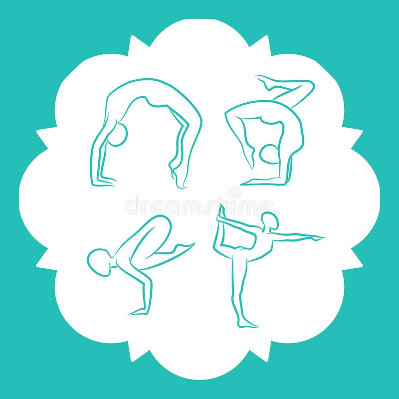 Yoga och pilates poserar vektorkonturer royaltyfri illustrationer
