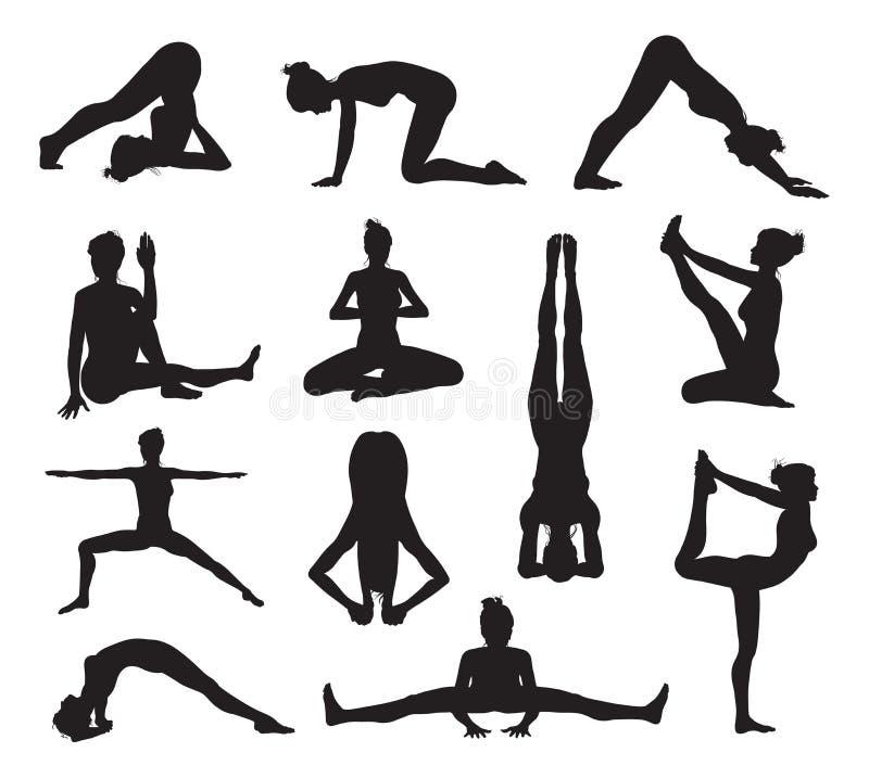 Yoga- oder pilateshaltungsschattenbilder lizenzfreie abbildung