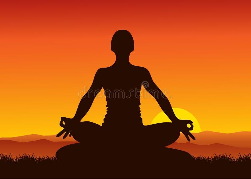 Yoga op zonsondergang royalty-vrije illustratie